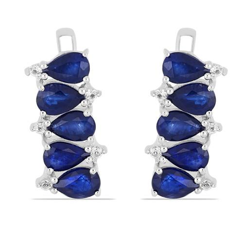 5.00 CT AUSTRALIAN BLUE SAPPHIRE SILVER EARRINGS #VE014375